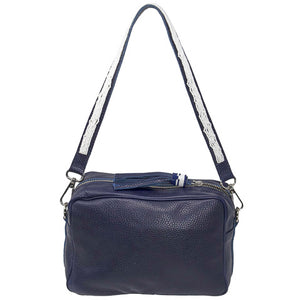 SAMPSON LEATHER PURSE, NAVY | SHORT STRAP, WHITE