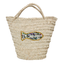 Load image into Gallery viewer, KIFARU STRAW TOTE, SEQUIN FISH MOTIF