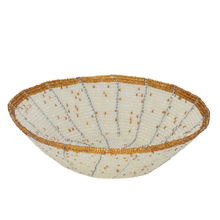 Load image into Gallery viewer, MAASAI BEADED BOWL, IVORY & GOLD TRIM