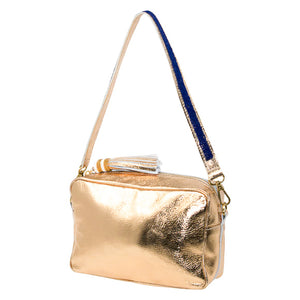 SAMPSON LEATHER PURSE, GOLD | SHORT STRAP