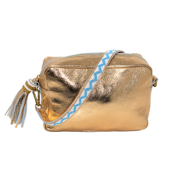 SAMPSON LEATHER PURSE, GOLD | LONG STRAP