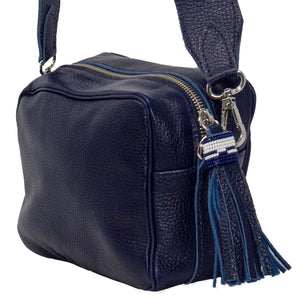 SAMPSON LEATHER CROSSBODY PURSE, NAVY