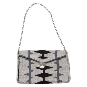 MAASAI BEADED CLUTCH, BLACK & WHITE