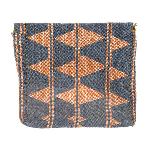 MAASAI BEADED CLUTCH, PEACH & DENIM BLUE