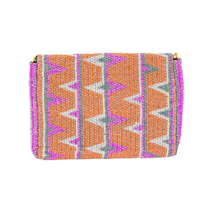 MAASAI BEADED CLUTCH, ORANGE & PINK