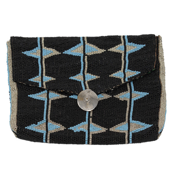MAASAI BEADED CLUTCH, BLACK & TEAL