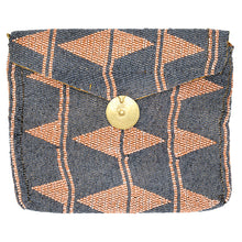 Load image into Gallery viewer, MAASAI BEADED CLUTCH, PEACH & DENIM BLUE