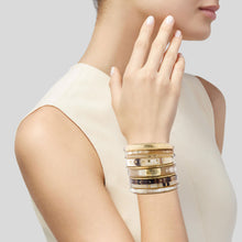 Load image into Gallery viewer, LIGHT HORN BANGLE, GOLD GEO PATTERN