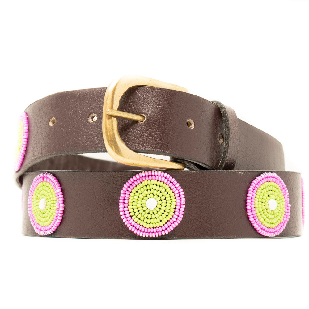 BROWN LEATHER BELT, PINK & GREEN BEADED MEDALLIONS