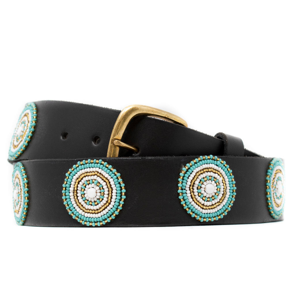 BROWN LEATHER BELT, TEAL & GOLD BEADED MEDALLIONS
