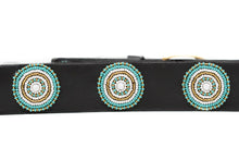 Load image into Gallery viewer, BROWN LEATHER BELT, TEAL & GOLD BEADED MEDALLIONS