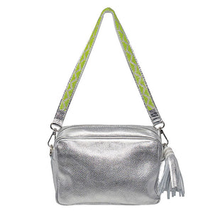 SAMPSON LEATHER PURSE, SILVER | SHORT STRAP, LIME GREEN