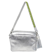 Load image into Gallery viewer, SAMPSON LEATHER PURSE, SILVER | SHORT STRAP, LIME GREEN