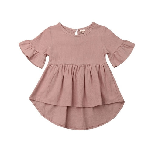 Casual Kid Baby Girl Plain Dress Cotton and Linen
