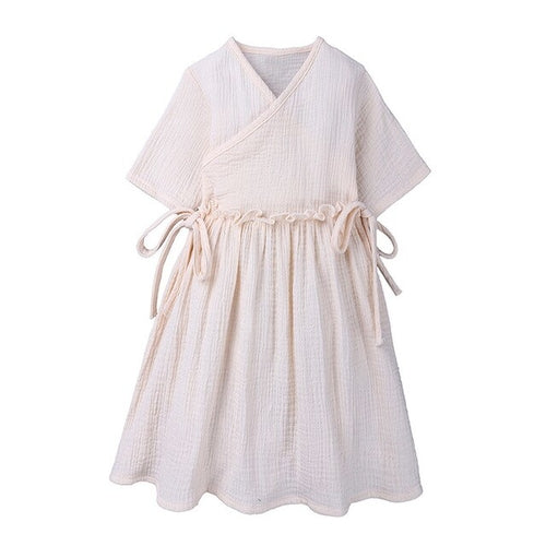 Cotton Linen Girls Dress For Children Toddler Kids