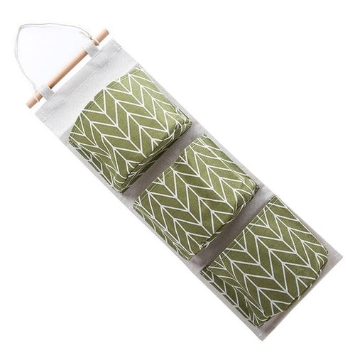 Cotton Linen Hanging Storage Bag 3 Pockets Wall