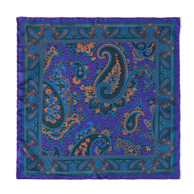 Paisley Ancient Madder Pocket Square - Macclesfield Lilac