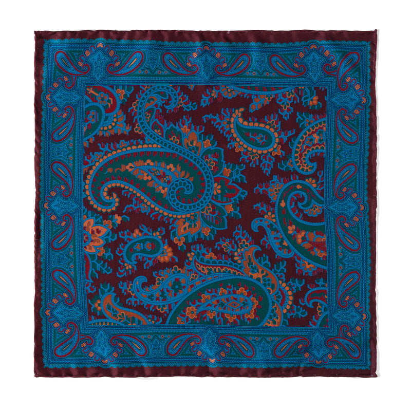 Paisley Ancient Madder Pocket Square - Macclesfield Burgundy
