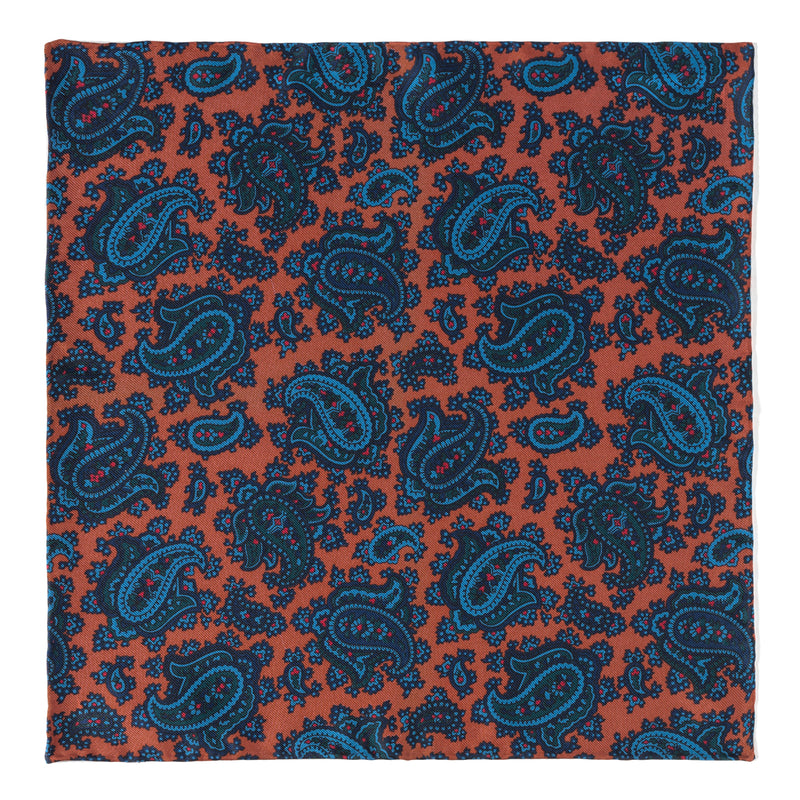 Paisley Handrolled Ancient Madder Silk Pocket Square - Mustard/Blue