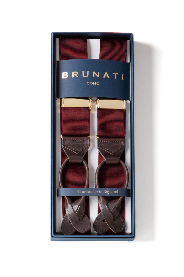 Plain Ribbed Rigid Braces - Bordeaux - Brunati Como