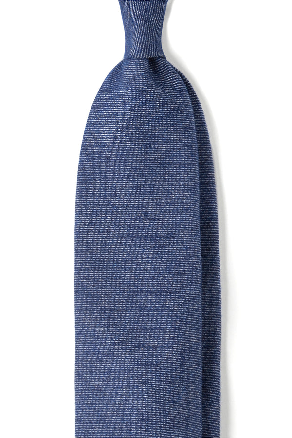7-Fold Plain Pure Cashmere Luxury Tie - Blue - Brunati Como