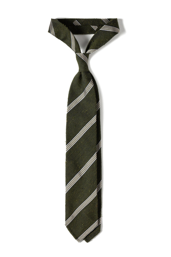 Silk Grenadine Shantung Tie - Green/White
