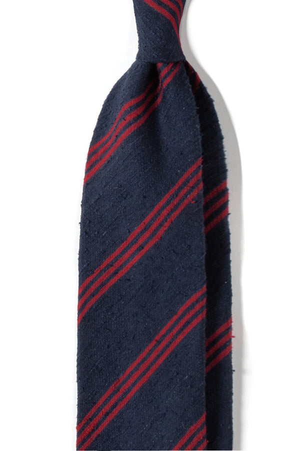 Handrolled Silk Striped Shantung Tie - Navy/Red