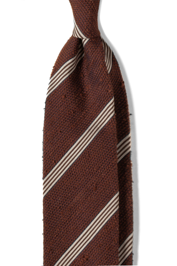 3-Fold Striped Silk Grenadine Shantung Tie - Brown/White - Brunati Como
