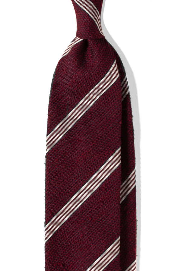 3-Fold Striped Silk Grenadine Shantung Tie - Bordeaux - Brunati Como