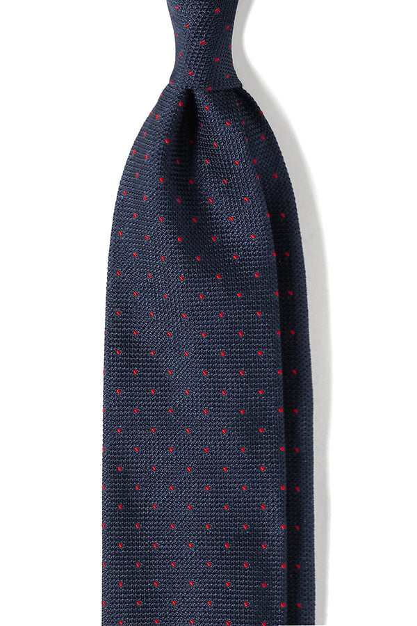Polka Dot Silk Grenadine Jacquard Tie - Navy/Red