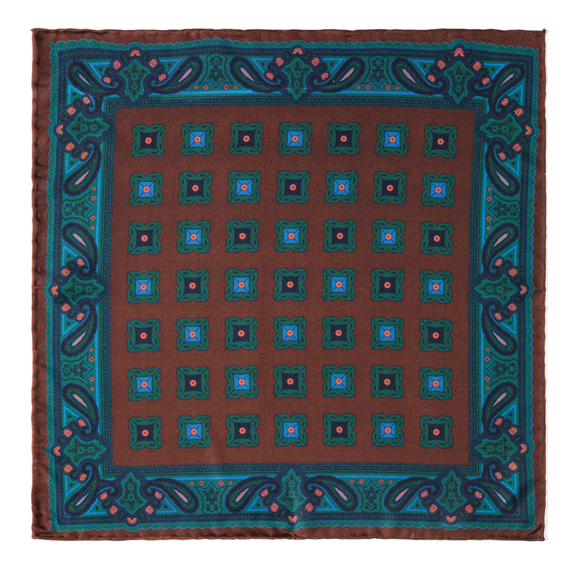 Diamond Ancient Madder Silk Pocket Square - Brown