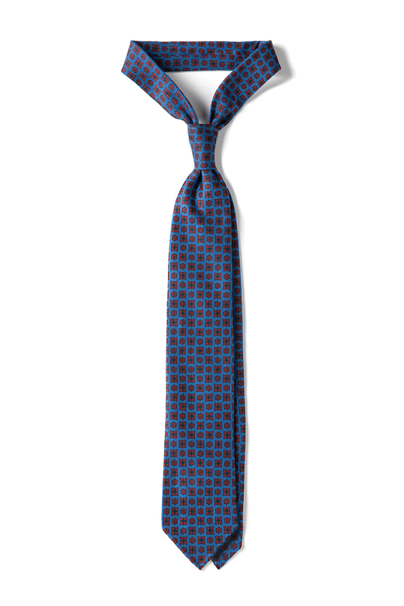 3-Fold Floral Ancient Madder Silk Tie - Blue - Hand rolled