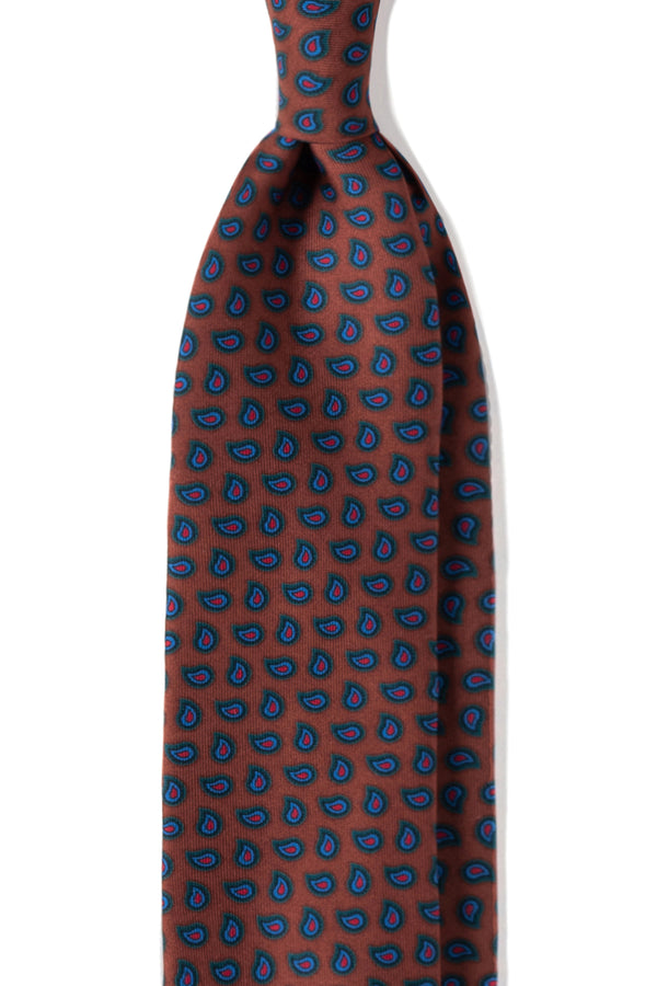 3-Fold Paisley Ancient Madder Silk Ties - Mustard - Brunati Como
