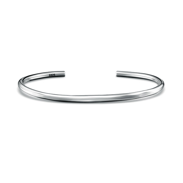 Handmade Sterling Silver Bangle - Matte Plain - Brunati Como