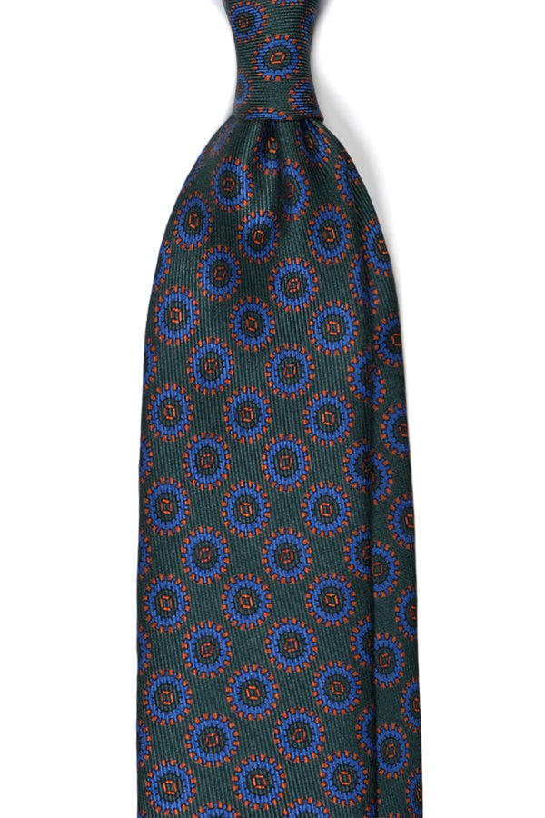 Handprinted Medallion Ancient Madder Silk Tie – Green / Royal / Orange