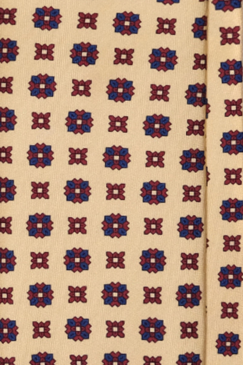Handrolled Medallion Silk Tie – Vanilla / Bordeaux / Navy