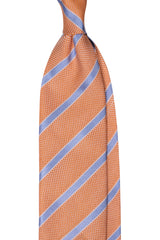 3-Fold Striped Silk Grenadine Tie - Orange / Light Blue