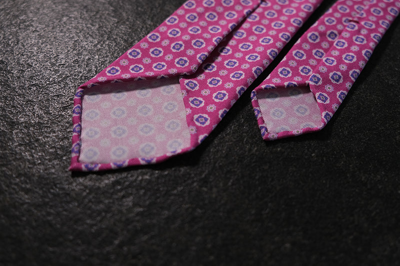 3- Fold Untipped Floral Silk Tie / Pink / Light Blue / Rose - Brunati Como