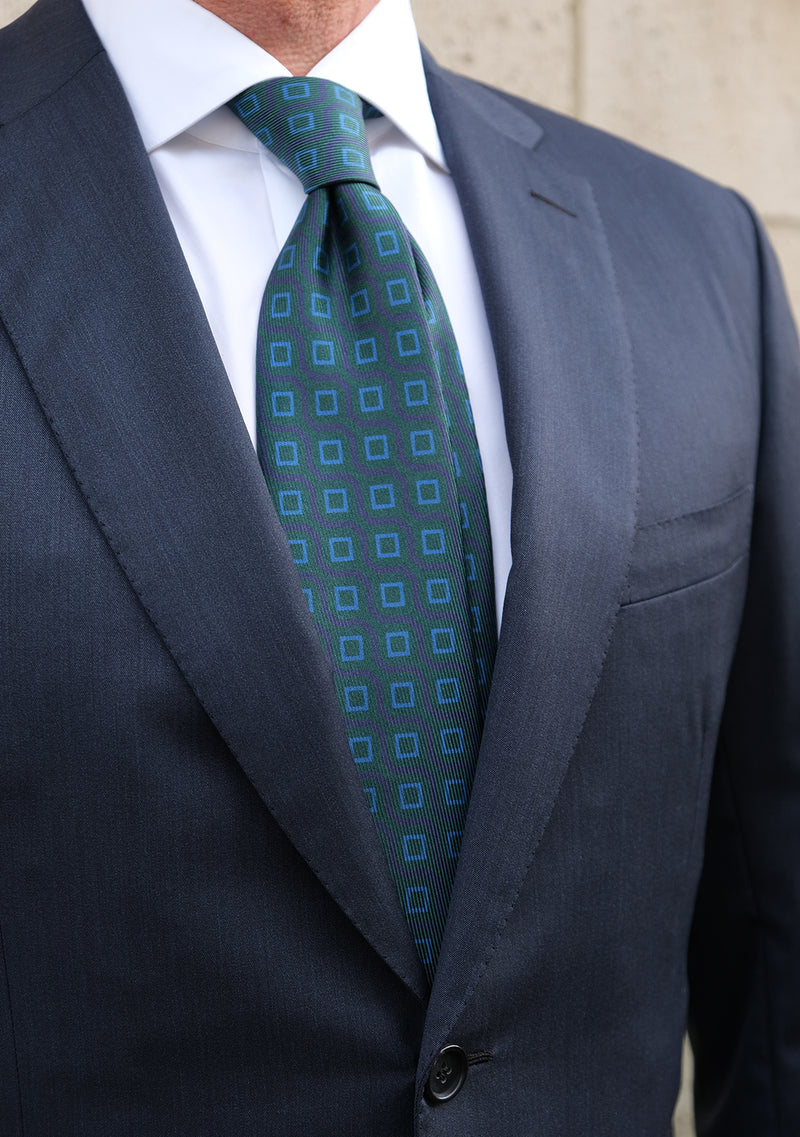 Handprinted Vintage Cubes Ancient Madder Silk Tie – Green / Light Blue