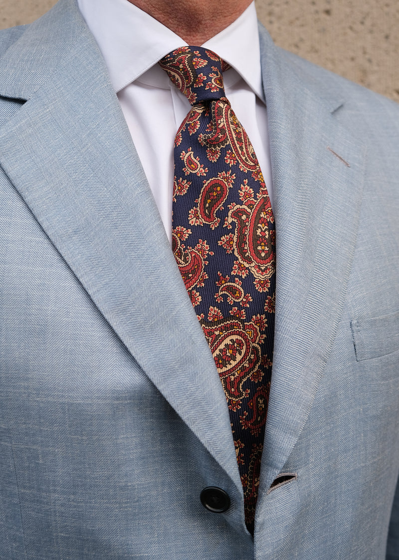 Handrolled King of Paisley Silk Tie - Navy - Brunati Como