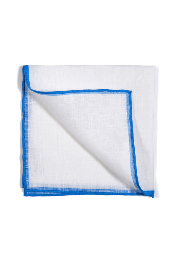 Shoestring Pocket Square Irish Linen - White/Blue - Brunati Como