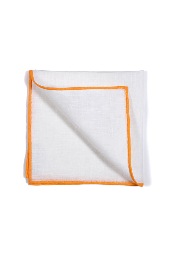 Shoestring Pocket Square Irish Linen - White/Orange - Brunati Como
