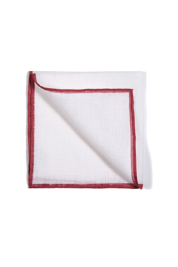 Shoestring Pocket Square Irish Linen - White/Red - Brunati Como