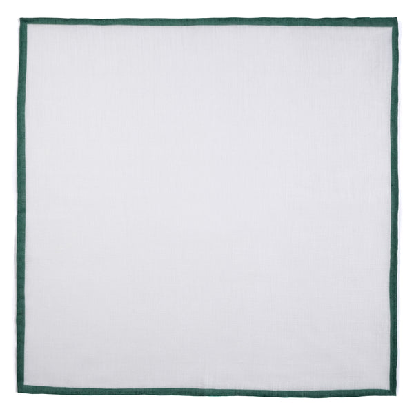Shoestring Pocket Square Irish Linen - White/Forest Green - Brunati Como