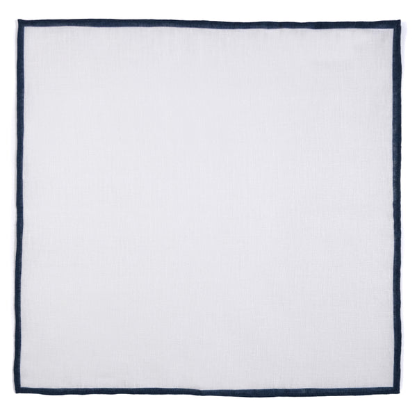 Shoestring Pocket Square Irish Linen - White/Navy - Brunati Como