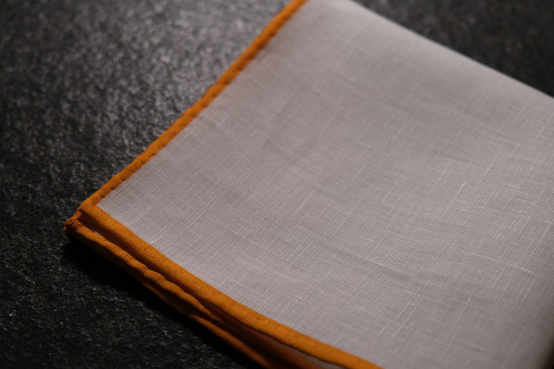 Shoestring Pocket Square Irish Linen - White/Orange