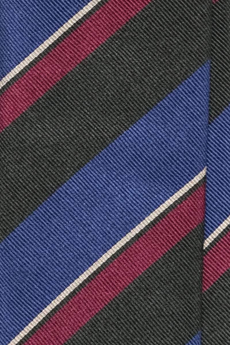 3- Fold Untipped Striped Silk Repp Tie - Forest / Royal Blue / Burgundy / Beige