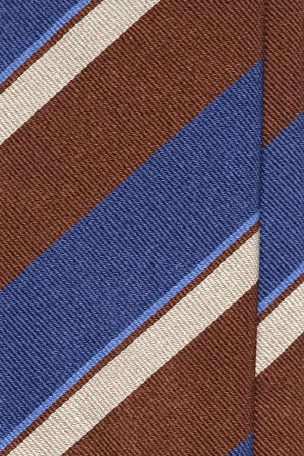 3- Fold Untipped Striped Silk Repp Tie - Brown / Royal Blue / Light Blue / Beige - Brunati Como