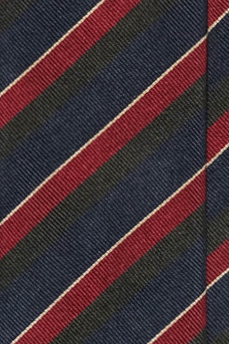 3-Fold Untipped Striped Silk Repp Tie - Navy / Forrest / Burgundy / Gold