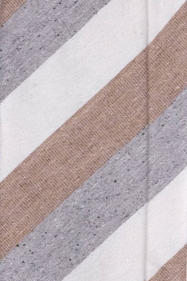 3-Fold Untipped Striped Silk Cotton Tie - Melange Beige / Grey / Off-white - Brunati Como